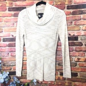 DANA BUCHMAN Cowl neck cream ribbed sweater MED